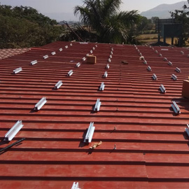 sheet roof solar panel mounting structure